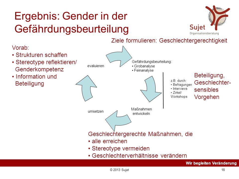 Wir begleiten Veränderung © 2013 Sujet18 Ergebnis: Gender in der Gefährdungsbeurteilung z.B. durch: Befragungen Interviews Zirkel/ Workshops Vorab: St