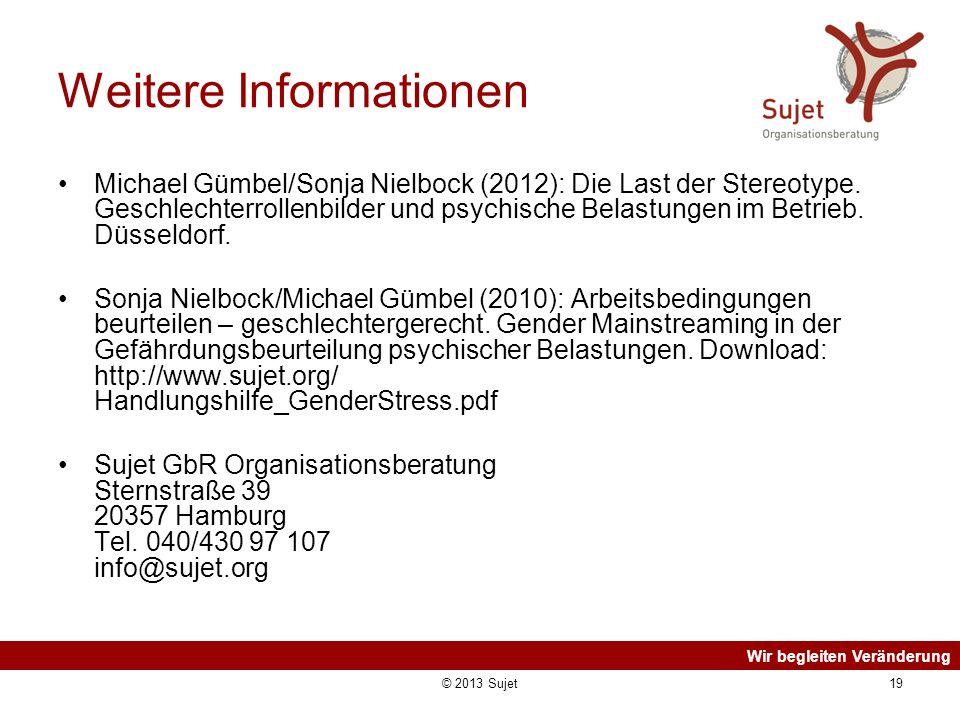 Wir begleiten Veränderung © 2013 Sujet19 Weitere Informationen Michael Gümbel/Sonja Nielbock (2012): Die Last der Stereotype. Geschlechterrollenbilder