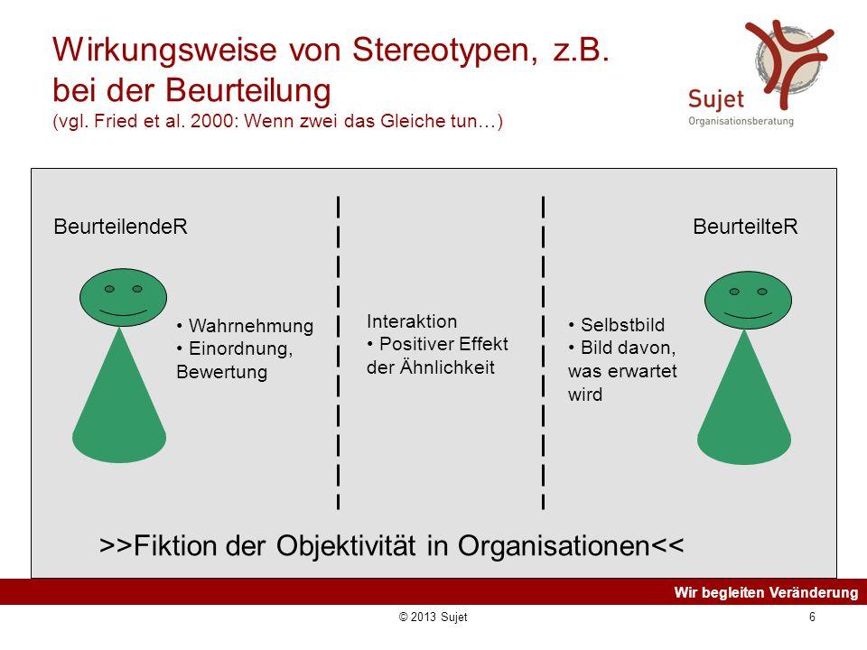 Wir begleiten Veränderung © 2013 Sujet6 Wirkungsweise von Stereotypen, z.B. bei der Beurteilung (vgl. Fried et al. 2000: Wenn zwei das Gleiche tun…) B