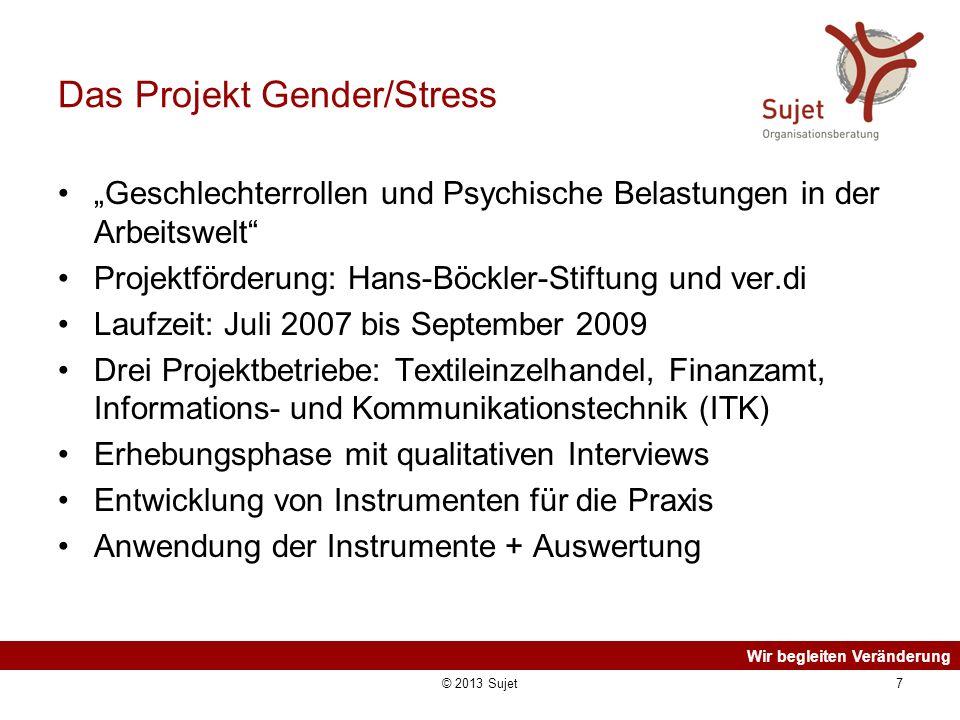 Wir begleiten Veränderung © 2013 Sujet7 Das Projekt Gender/Stress Geschlechterrollen und Psychische Belastungen in der Arbeitswelt Projektförderung: H