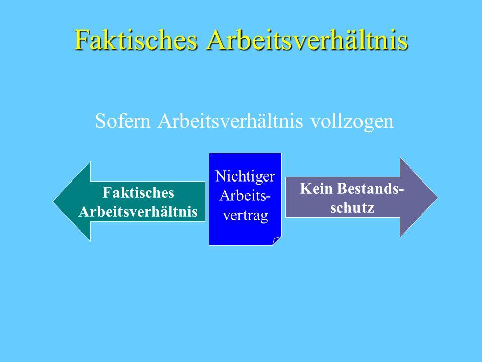 Faktisches Arbeitsverhältnis Sofern Arbeitsverhältnis vollzogen Nichtiger Arbeits- vertrag Faktisches Arbeitsverhältnis Kein Bestands- schutz