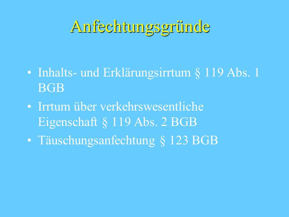 Anfechtungsgründe Inhalts- und Erklärungsirrtum § 119 Abs. 1 BGB Irrtum über verkehrswesentliche Eigenschaft § 119 Abs. 2 BGB Täuschungsanfechtung § 1