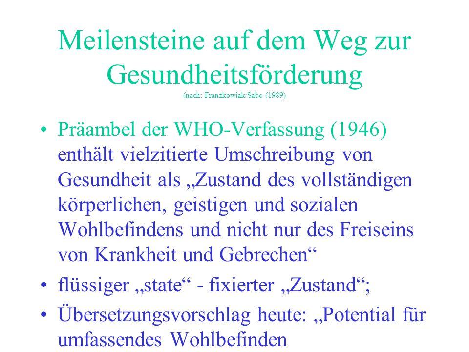 Elkeles 2001 Wesentliche Elemente der WHO- Verfassung für im positiven Sinne utopische Präventionsdiskussion (nach: Franzkowiak/Sabo (1989) Gesundheit als allgemeines, globales Menschen- und Grundrecht Einklagen der Beseitigung aller gesellschaftlichen und globalen Ungleichheiten Hierzu ausdrückliche Verpflichtung der politischen Entscheidungsträger aller Länder