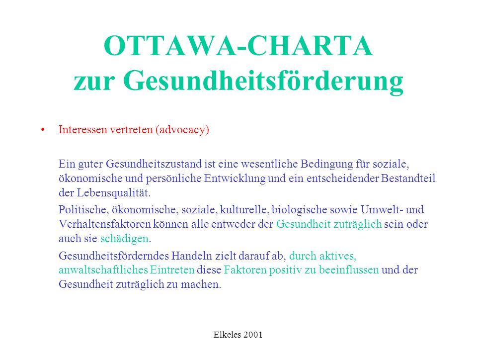 Elkeles 2001 OTTAWA-CHARTA zur Gesundheitsförderung Interessen vertreten (advocacy) Ein guter Gesundheitszustand ist eine wesentliche Bedingung für so