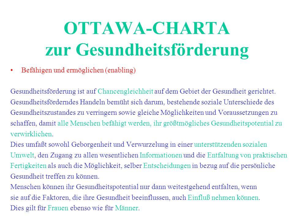OTTAWA-CHARTA zur Gesundheitsförderung Befähigen und ermöglichen (enabling) Gesundheitsförderung ist auf Chancengleichheit auf dem Gebiet der Gesundhe