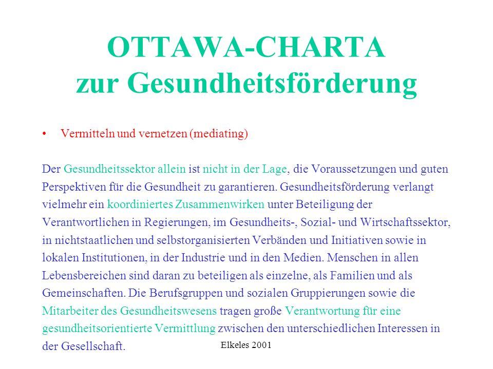 Elkeles 2001 OTTAWA-CHARTA zur Gesundheitsförderung Vermitteln und vernetzen (mediating) Der Gesundheitssektor allein ist nicht in der Lage, die Vorau