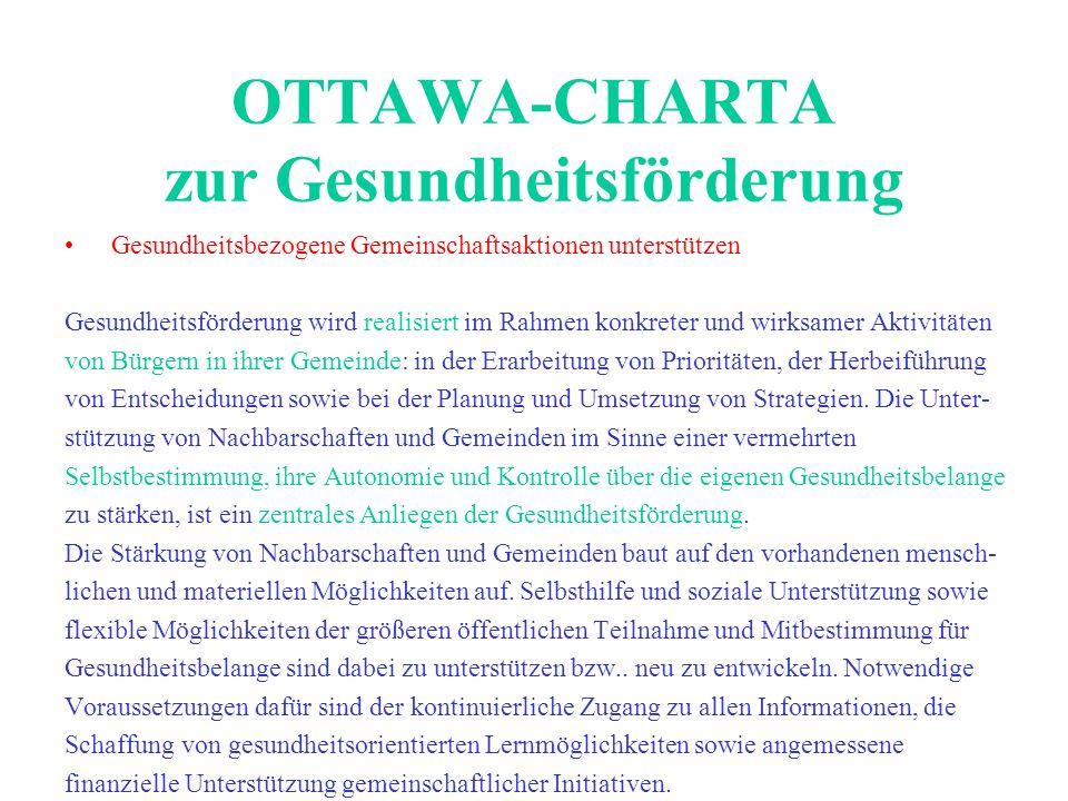 OTTAWA-CHARTA zur Gesundheitsförderung Gesundheitsbezogene Gemeinschaftsaktionen unterstützen Gesundheitsförderung wird realisiert im Rahmen konkreter