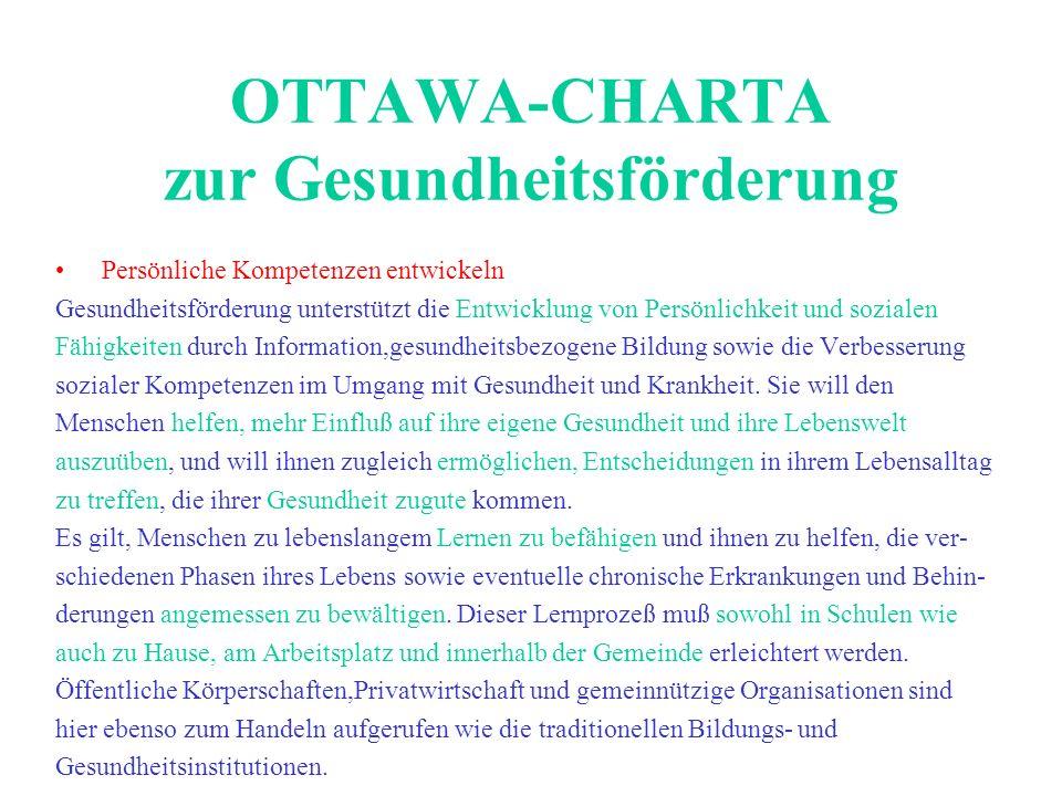 OTTAWA-CHARTA zur Gesundheitsförderung Persönliche Kompetenzen entwickeln Gesundheitsförderung unterstützt die Entwicklung von Persönlichkeit und sozi