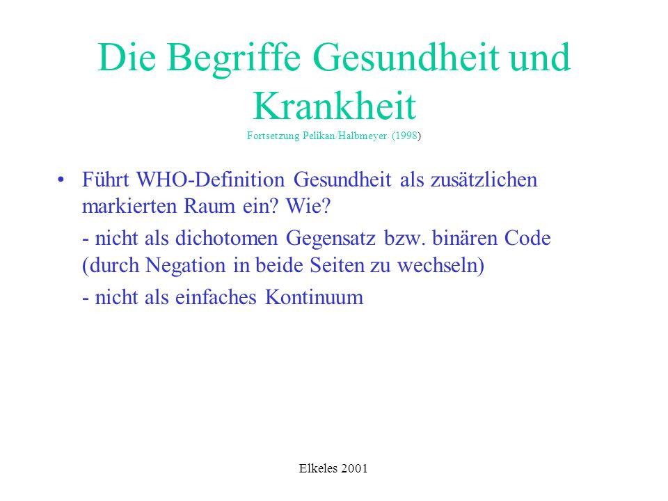 Elkeles 2001 Die Begriffe Gesundheit und Krankheit Fortsetzung Pelikan/Halbmeyer (1998) Führt WHO-Definition Gesundheit als zusätzlichen markierten Ra