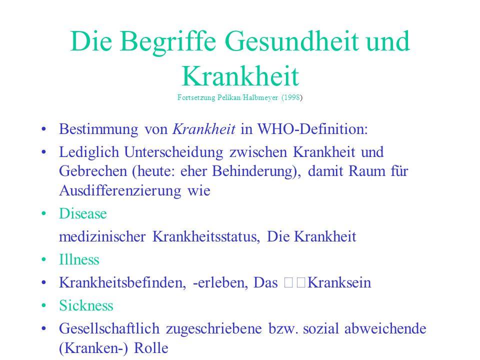 Die Begriffe Gesundheit und Krankheit Fortsetzung Pelikan/Halbmeyer (1998) Bestimmung von Krankheit in WHO-Definition: Lediglich Unterscheidung zwisch