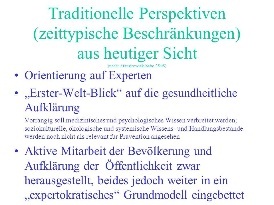 Traditionelle Perspektiven (zeittypische Beschränkungen) aus heutiger Sicht (nach: Franzkowiak/Sabo 1998) Orientierung auf Experten Erster-Welt-Blick