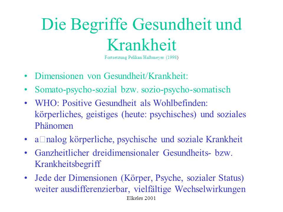 Elkeles 2001 Die Begriffe Gesundheit und Krankheit Fortsetzung Pelikan/Halbmeyer (1998) Dimensionen von Gesundheit/Krankheit: Somato-psycho-sozial bzw