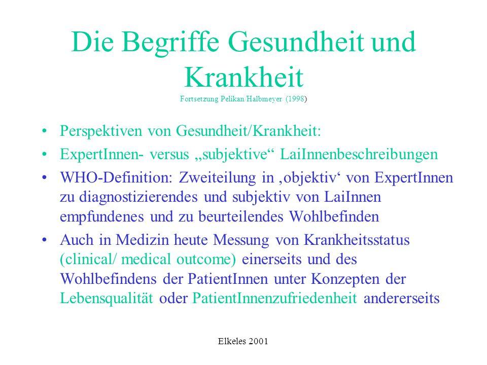 Elkeles 2001 Die Begriffe Gesundheit und Krankheit Fortsetzung Pelikan/Halbmeyer (1998) Perspektiven von Gesundheit/Krankheit: ExpertInnen- versus sub