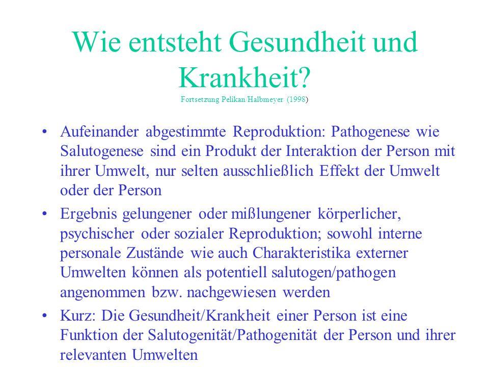 Wie entsteht Gesundheit und Krankheit? Fortsetzung Pelikan/Halbmeyer (1998) Aufeinander abgestimmte Reproduktion: Pathogenese wie Salutogenese sind ei
