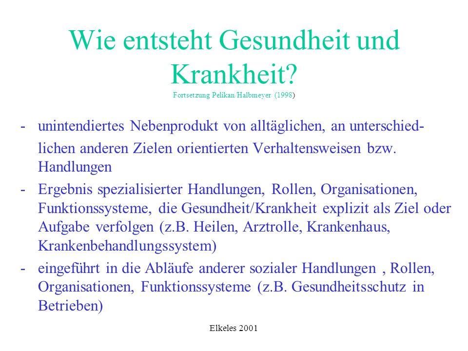 Elkeles 2001 Wie entsteht Gesundheit und Krankheit? Fortsetzung Pelikan/Halbmeyer (1998) - unintendiertes Nebenprodukt von alltäglichen, an unterschie