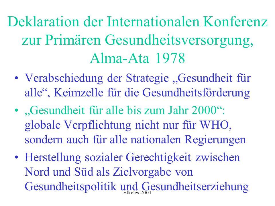 Elkeles 2001 Kern der Alma-Ata-Deklaration: Forderung nach Public Health Care Im Deutschen zunächst mit Gemeinschaftlicher Gesundheitssicherung übersetzt, heute eher mit öffentlicher Gesundheitspflege oder primärer Gesundheitsversorgung