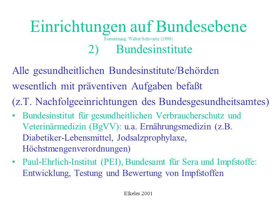 Elkeles 2001 Einrichtungen auf Bundesebene Fortsetzung: Walter/Schwartz (1998) 2) Bundesinstitute Alle gesundheitlichen Bundesinstitute/Behörden wesen