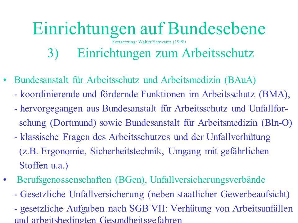 Einrichtungen auf Bundesebene Fortsetzung: Walter/Schwartz (1998) 3) Einrichtungen zum Arbeitsschutz Bundesanstalt für Arbeitsschutz und Arbeitsmedizi