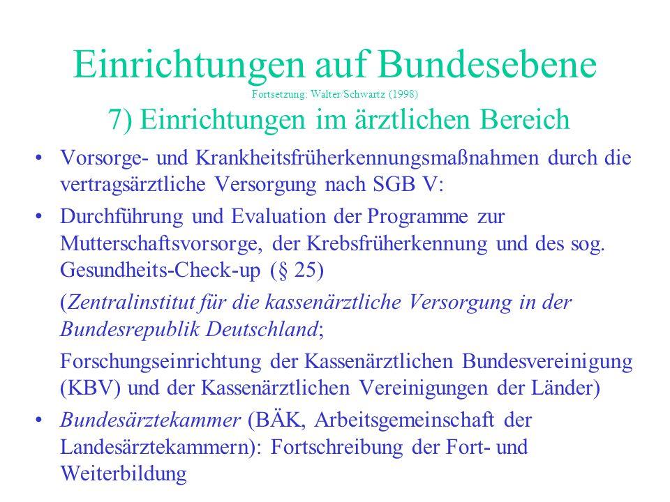 Einrichtungen auf Bundesebene Fortsetzung: Walter/Schwartz (1998) 7) Einrichtungen im ärztlichen Bereich Vorsorge- und Krankheitsfrüherkennungsmaßnahm