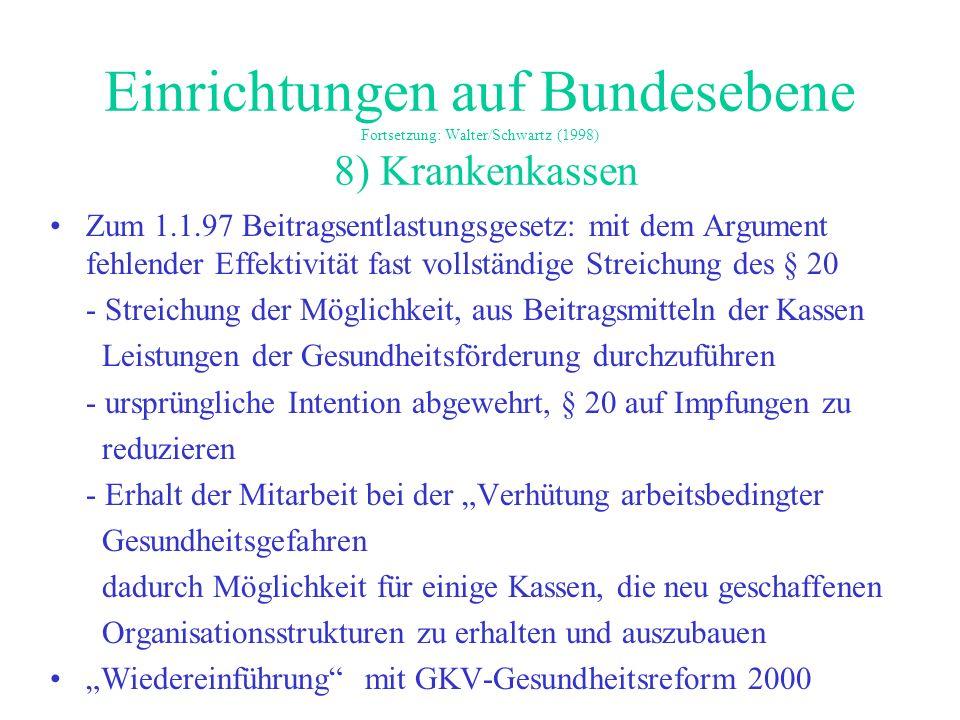 Einrichtungen auf Bundesebene Fortsetzung: Walter/Schwartz (1998) 8) Krankenkassen Zum 1.1.97 Beitragsentlastungsgesetz: mit dem Argument fehlender Ef