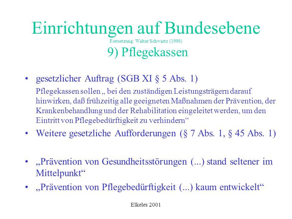Elkeles 2001 Einrichtungen auf Bundesebene Fortsetzung: Walter/Schwartz (1998) 9) Pflegekassen gesetzlicher Auftrag (SGB XI § 5 Abs. 1) Pflegekassen s