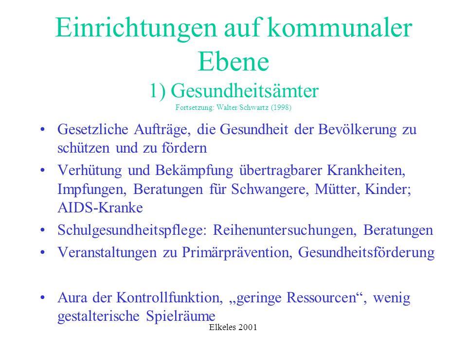 Elkeles 2001 Einrichtungen auf kommunaler Ebene 1) Gesundheitsämter Fortsetzung: Walter/Schwartz (1998) Gesetzliche Aufträge, die Gesundheit der Bevöl