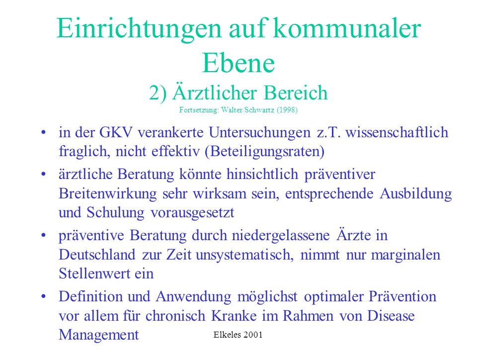 Elkeles 2001 Einrichtungen auf kommunaler Ebene 2) Ärztlicher Bereich Fortsetzung: Walter/Schwartz (1998) in der GKV verankerte Untersuchungen z.T. wi