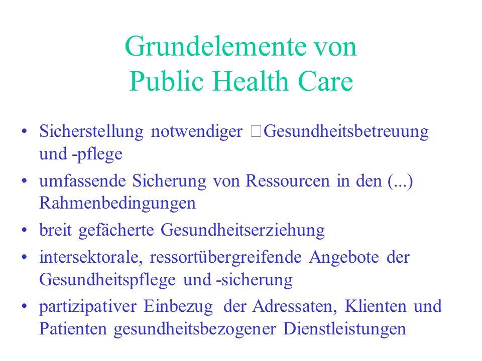 Grundelemente von Public Health Care Sicherstellung notwendiger Gesundheitsbetreuung und -pflege umfassende Sicherung von Ressourcen in den (...) Rahm