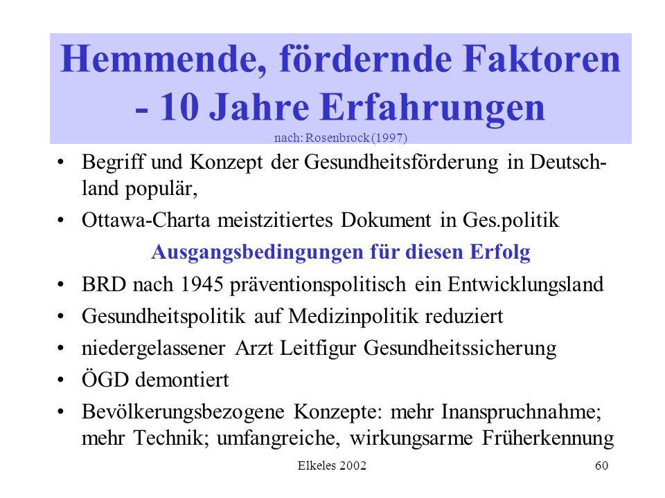 Elkeles 200260 Begriff und Konzept der Gesundheitsförderung in Deutsch- land populär, Ottawa-Charta meistzitiertes Dokument in Ges.politik Ausgangsbed