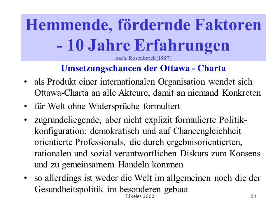 Elkeles 200264 Umsetzungschancen der Ottawa - Charta als Produkt einer internationalen Organisation wendet sich Ottawa-Charta an alle Akteure, damit a