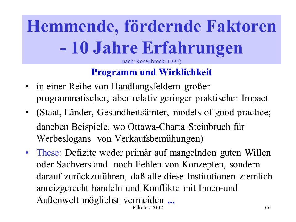 Elkeles 200266 Programm und Wirklichkeit in einer Reihe von Handlungsfeldern großer programmatischer, aber relativ geringer praktischer Impact (Staat,