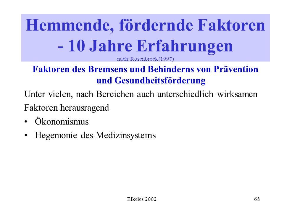 Elkeles 200268 Faktoren des Bremsens und Behinderns von Prävention und Gesundheitsförderung Unter vielen, nach Bereichen auch unterschiedlich wirksame