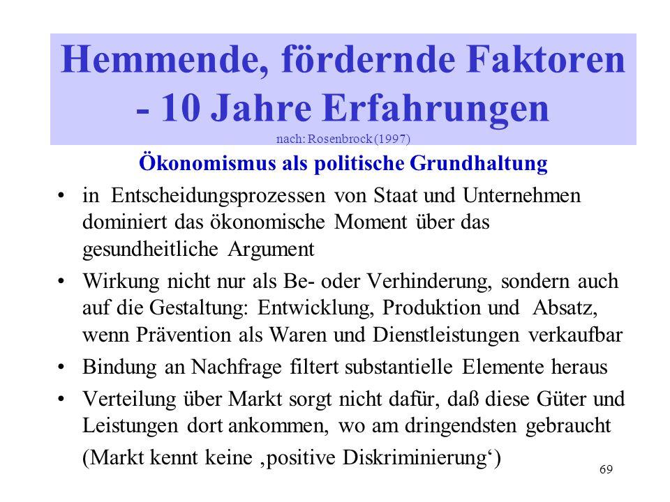 69 Ökonomismus als politische Grundhaltung in Entscheidungsprozessen von Staat und Unternehmen dominiert das ökonomische Moment über das gesundheitlic