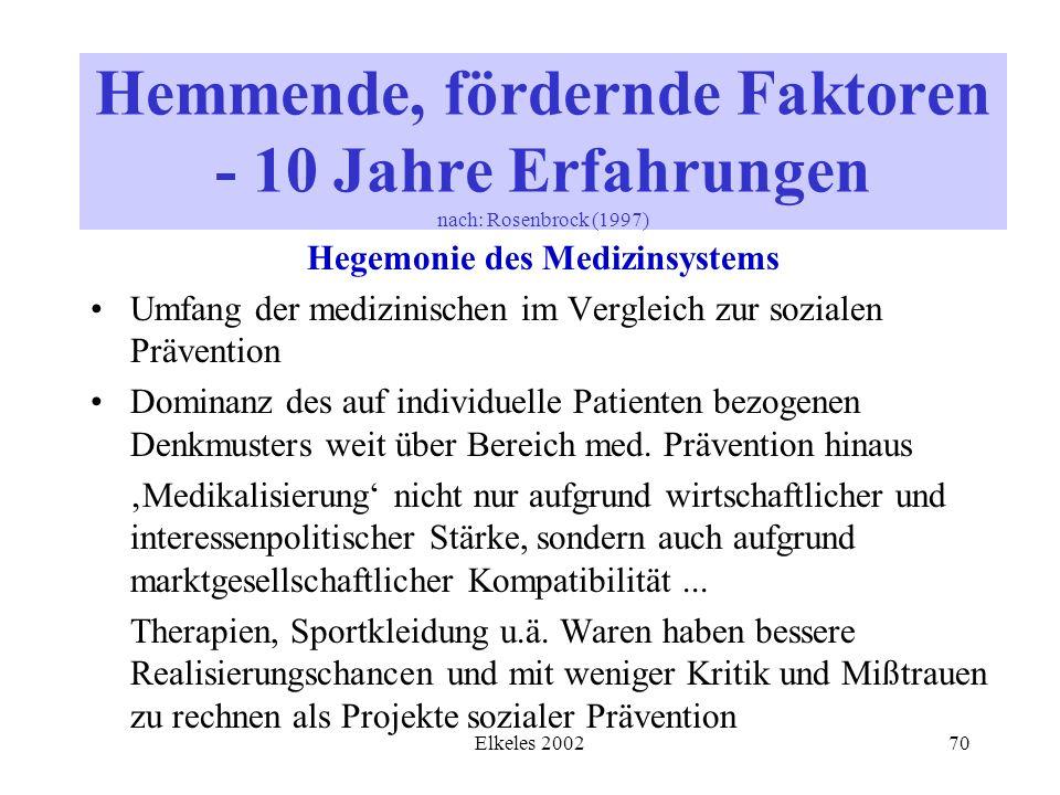 Elkeles 200270 Hegemonie des Medizinsystems Umfang der medizinischen im Vergleich zur sozialen Prävention Dominanz des auf individuelle Patienten bezo