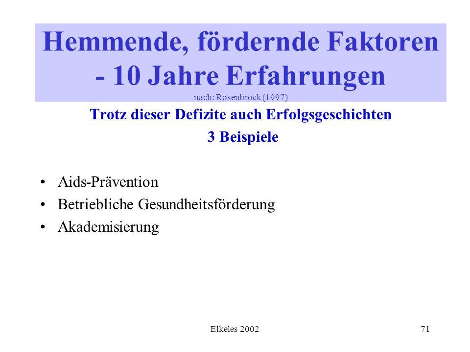 Elkeles 200271 Trotz dieser Defizite auch Erfolgsgeschichten 3 Beispiele Aids-Prävention Betriebliche Gesundheitsförderung Akademisierung Hemmende, fö