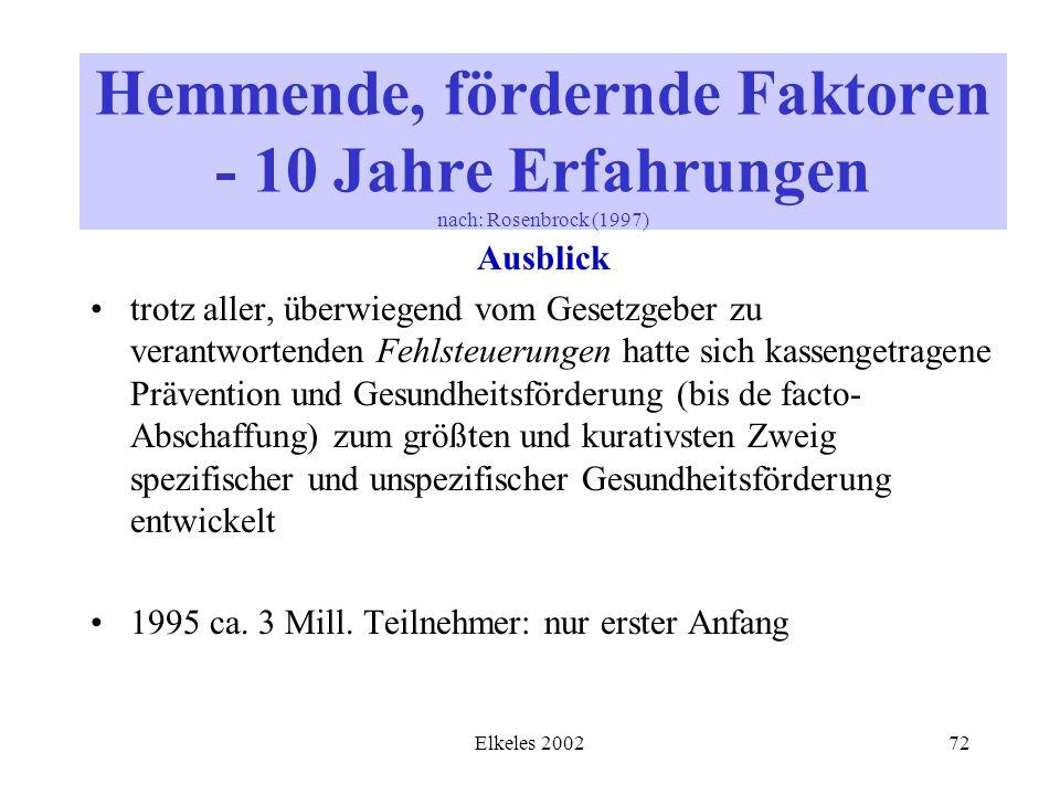 Elkeles 200272 Ausblick trotz aller, überwiegend vom Gesetzgeber zu verantwortenden Fehlsteuerungen hatte sich kassengetragene Prävention und Gesundhe