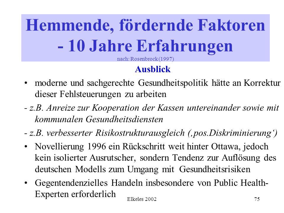 Elkeles 200275 Ausblick moderne und sachgerechte Gesundheitspolitik hätte an Korrektur dieser Fehlsteuerungen zu arbeiten - z.B. Anreize zur Kooperati