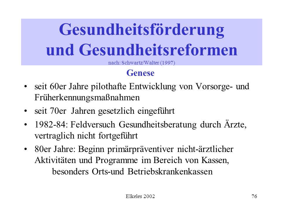 Elkeles 200276 Gesundheitsförderung und Gesundheitsreformen nach: Schwartz/Walter (1997) Genese seit 60er Jahre pilothafte Entwicklung von Vorsorge- u