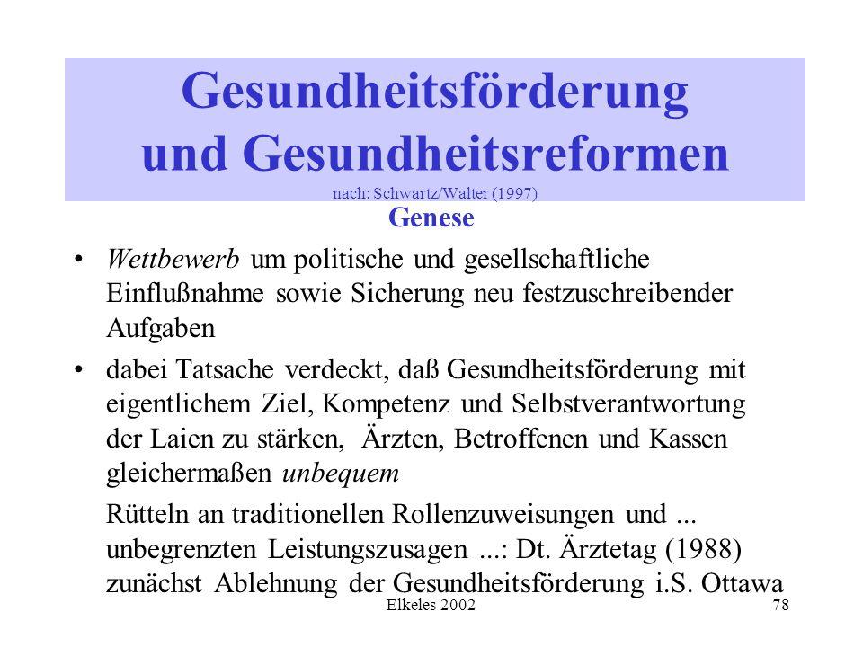 Elkeles 200278 Gesundheitsförderung und Gesundheitsreformen nach: Schwartz/Walter (1997) Genese Wettbewerb um politische und gesellschaftliche Einfluß