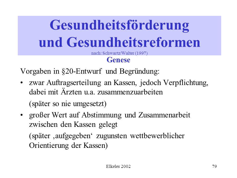 Elkeles 200279 Gesundheitsförderung und Gesundheitsreformen nach: Schwartz/Walter (1997) Genese Vorgaben in §20-Entwurf und Begründung: zwar Auftragse