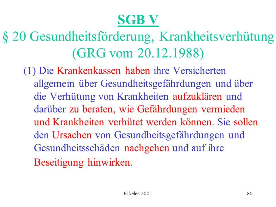 Elkeles 200180 SGB V § 20 Gesundheitsförderung, Krankheitsverhütung (GRG vom 20.12.1988) (1) Die Krankenkassen haben ihre Versicherten allgemein über