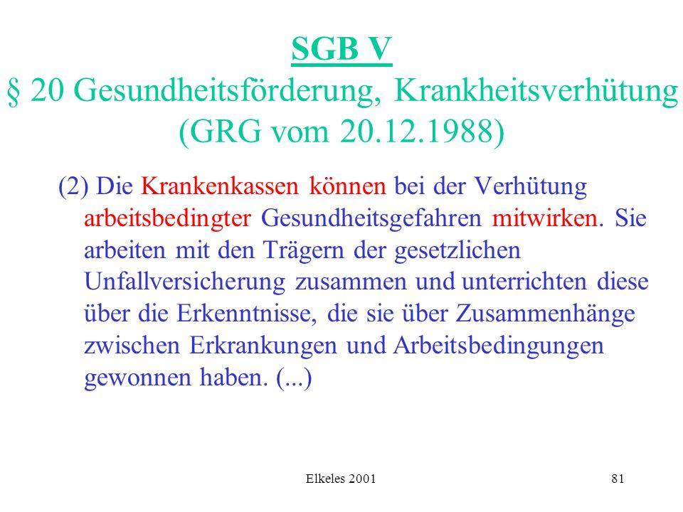Elkeles 200181 SGB V § 20 Gesundheitsförderung, Krankheitsverhütung (GRG vom 20.12.1988) (2) Die Krankenkassen können bei der Verhütung arbeitsbedingt