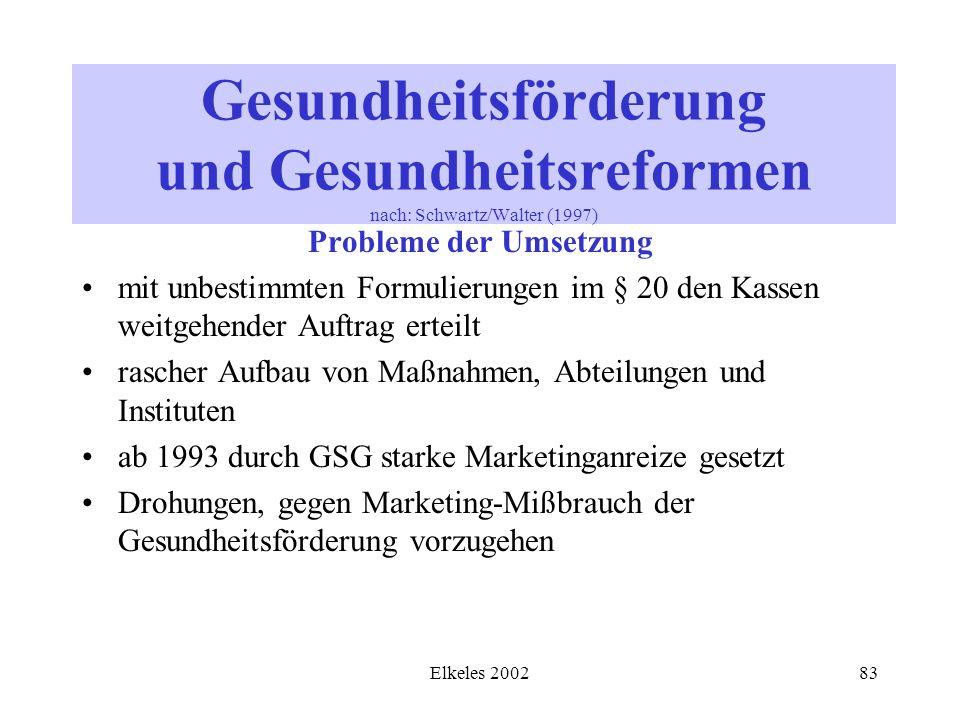 Elkeles 200283 Gesundheitsförderung und Gesundheitsreformen nach: Schwartz/Walter (1997) Probleme der Umsetzung mit unbestimmten Formulierungen im § 2