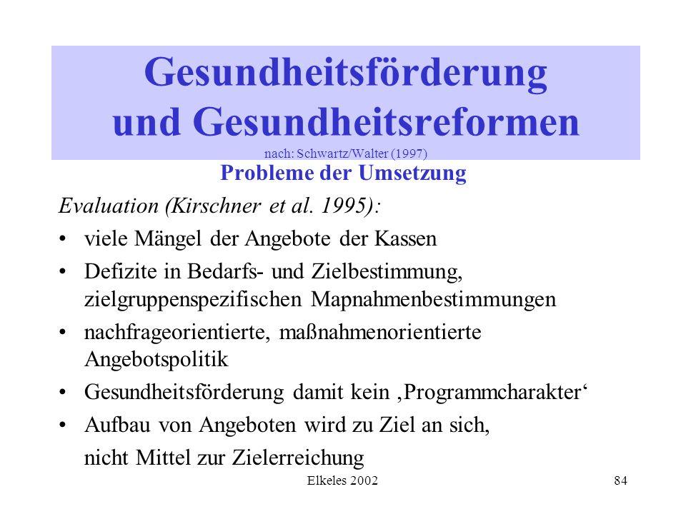 Elkeles 200284 Gesundheitsförderung und Gesundheitsreformen nach: Schwartz/Walter (1997) Probleme der Umsetzung Evaluation (Kirschner et al. 1995): vi