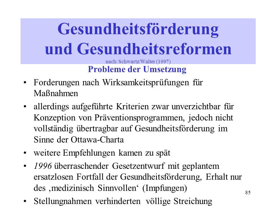 85 Gesundheitsförderung und Gesundheitsreformen nach: Schwartz/Walter (1997) Probleme der Umsetzung Forderungen nach Wirksamkeitsprüfungen für Maßnahm