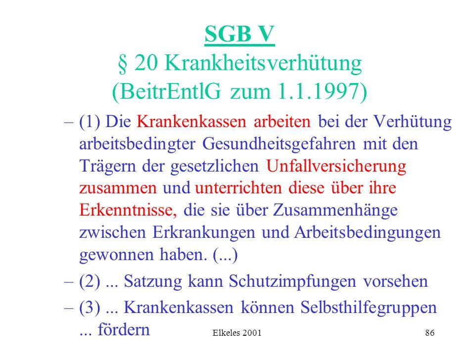 Elkeles 200186 SGB V § 20 Krankheitsverhütung (BeitrEntlG zum 1.1.1997) –(1) Die Krankenkassen arbeiten bei der Verhütung arbeitsbedingter Gesundheits