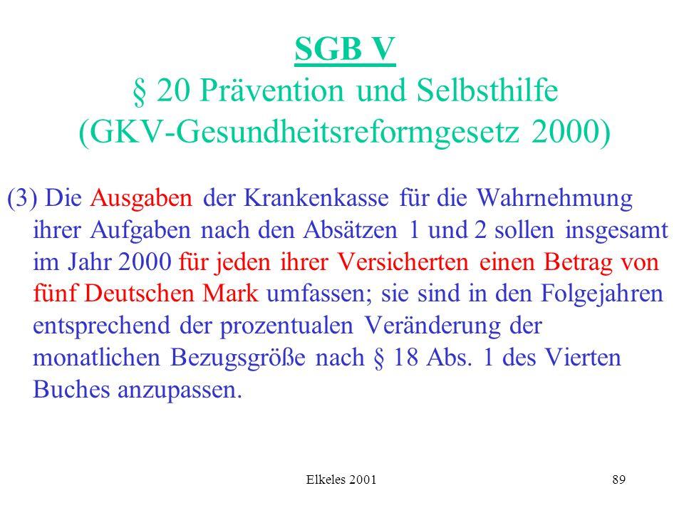 Elkeles 200189 SGB V § 20 Prävention und Selbsthilfe (GKV-Gesundheitsreformgesetz 2000) (3) Die Ausgaben der Krankenkasse für die Wahrnehmung ihrer Au