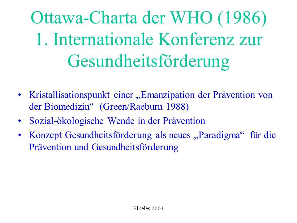 Elkeles 2001 Ottawa-Charta der WHO (1986) 1. Internationale Konferenz zur Gesundheitsförderung Kristallisationspunkt einer Emanzipation der Prävention