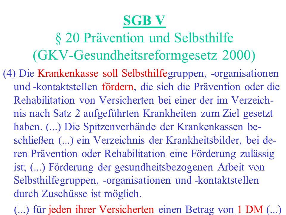 SGB V § 20 Prävention und Selbsthilfe (GKV-Gesundheitsreformgesetz 2000) (4) Die Krankenkasse soll Selbsthilfegruppen, -organisationen und -kontaktste
