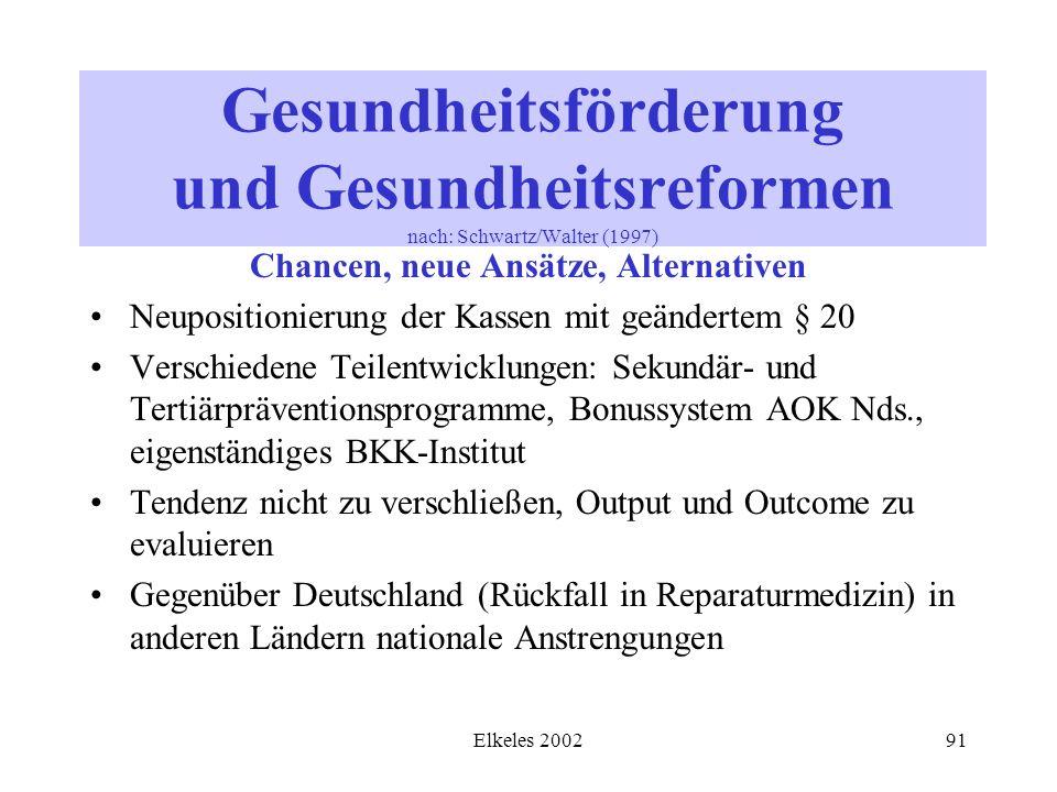 Elkeles 200291 Gesundheitsförderung und Gesundheitsreformen nach: Schwartz/Walter (1997) Chancen, neue Ansätze, Alternativen Neupositionierung der Kas